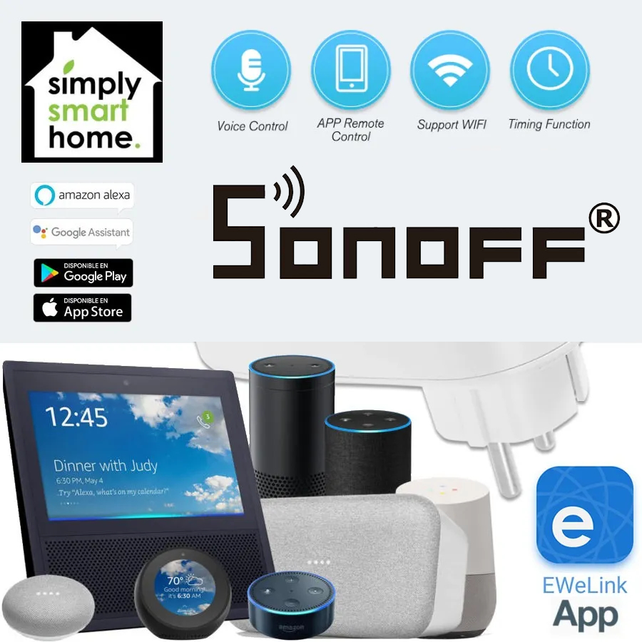 SONOFF ENCHUFE TIMER SMART WIFI COMPATIBLE AMAZON ALEXA Y GOOGLE HOME