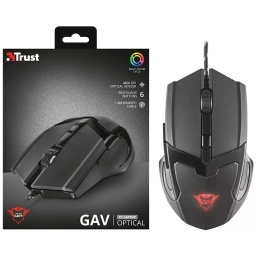 MOUSE GAMER USB TRUST 4800DPI 6 BOTONES CABLE ACORDONADO 1.8M MULTICOLOR GXT101
