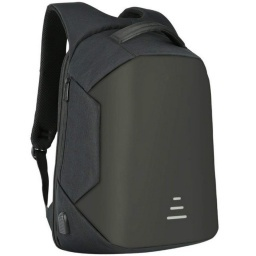 MOCHILA ANTI-ROBO NEGRA CON USB Y JACK 3.5MM PARA CONECTAR A POWER BANK 15.6
