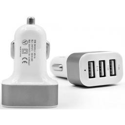 CARGADOR USB PARA AUTO DE 3 PUERTOS P/ CELULARES Y TABLETAS