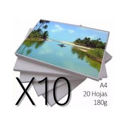 PAPEL FOTOGRAFICO A4 RESMA DE 20 HOJAS CALIDAD A X10 RESMAS