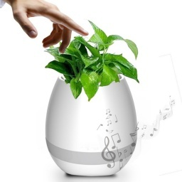 MINI MACETA PARLANTE BLUETOOTH SISTEMA TOUCH PIANO Y LED PLANTA
