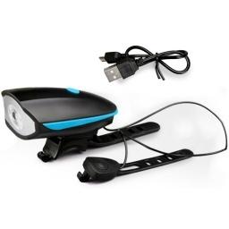 FAROL LUZ LED DELANTERA CON BOTON DE BOCINA PARA BICICLETA RECARGABLE USB