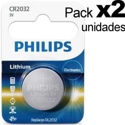 PACK X2 PILA BATERIA CR2032 PHILIPS LITIO LITHIUM RELOJ 3V
