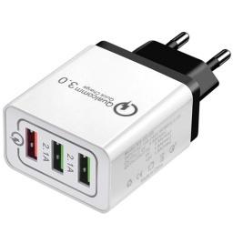 CARGADOR DE PARED USB QC 3.0 CARGA RAPIDA 3 PUERTOS QUICK CHARGER PREMIUM
