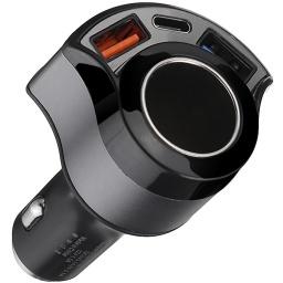 CARGADOR DE AUTO EXTENSION 12V 24V DOBLE PUERTO USB QC 3.0 + 1 USB-C  TIPO C