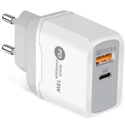 CARGADOR DE PARED USB PD + QC 3.0 CARGA RAPIDA QUICK CHARGER 18W TIPO C USB-C