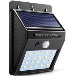 LUZ DE 20 LED LAMPARA FAROL SOLAR CON SENSOR MOVIMIENTO EXTERIOR