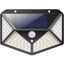 LAMPARA FOCO LUZ SOLAR 3 FUNCIONES ENCENDIDO TODA LA NOCHE 100 LED CON SENSOR