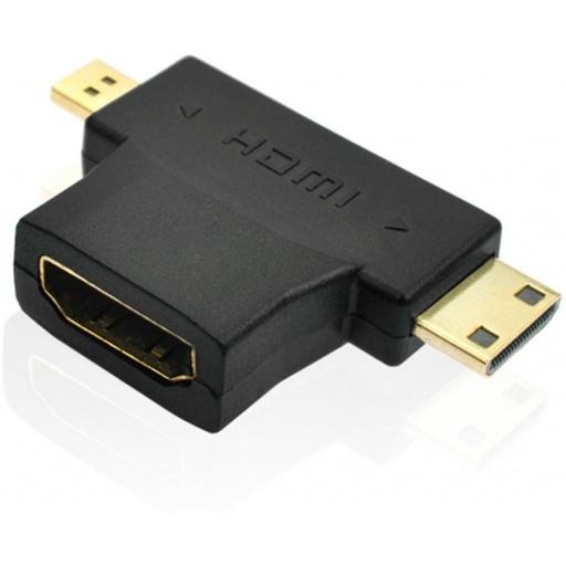 ADAPTADOR HDMI HEMBRA A MICRO-HDMI M Y MINI-HD M