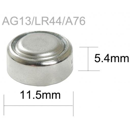PILA BATERIA ALKALINA AG13 LR44 A76 357 RELOJ X 10