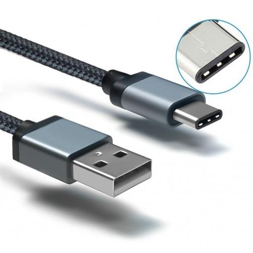 CABLE USB 2.0 MACHO A USB-C TIPO C MACHO DE 1 METRO CARGA Y DATOS M-M USBC