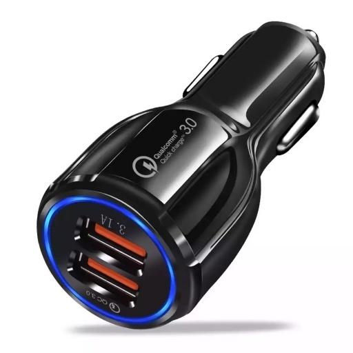 CARGADOR RAPIDO PARA AUTO DOBLE USB 2 FAST CHARGER QC 3.0