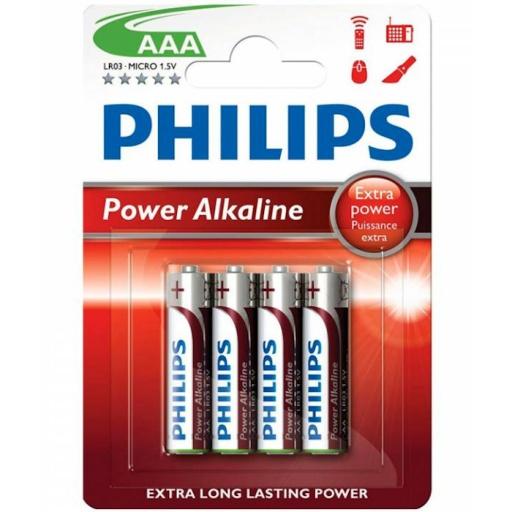 PILAS ALCALINAS PHILIPS AAA 1.5 V ROJAS PACK X4