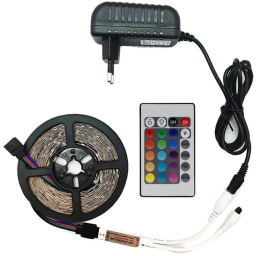 CINTA LUCES LED TIRA RGB 5M CON TRANSFORMADOR Y CONTROL 5 METROS