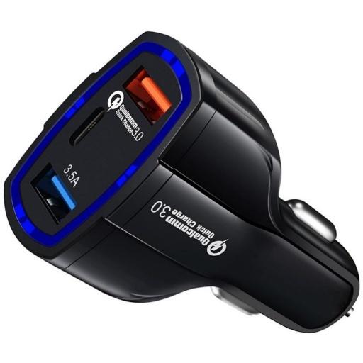 CARGADOR DE AUTO QC 3.0 CARGA RAPIDA 2 PUERTOS USB QUICK CHARGER 1 USB-C TIPO C PREMIUM