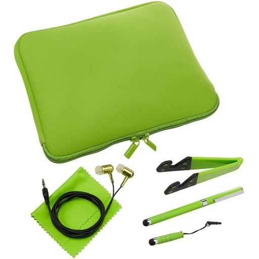 "ESTUCHE FUNDA SOBRE NEOPRENO 10"" TABLET NOTEBOOK KIT 6 EN 1 +SOPORTE+2 LAPICES+AURICULARES+PAÑO"