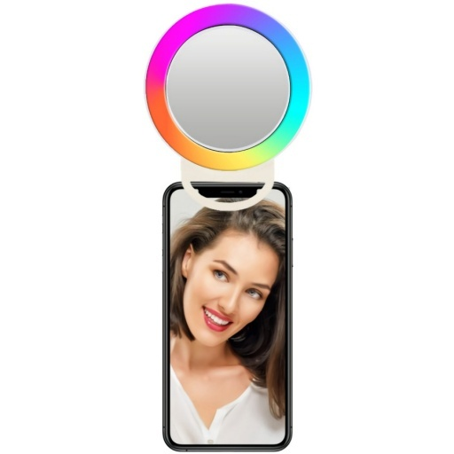 ANILLO DE LUZ LED RGB PARA SELFIE CON ESPEJO Y CLIP PARA EL CELULAR 11.5CM RECARGABLE