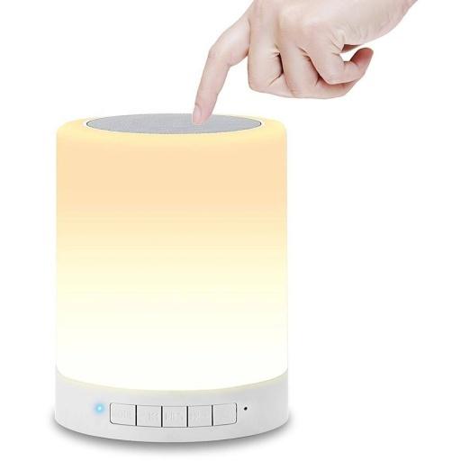 LAMPARA DE MESA TACTIL LED DE COLORES CON PARLANTE BLUETOOTH DE MESA FM USB MICRO-SD AUX
