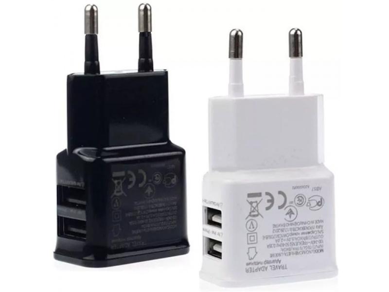 CARGADOR DOBLE 2 USB PARED SAMSUNG COMPATIBLE 2A