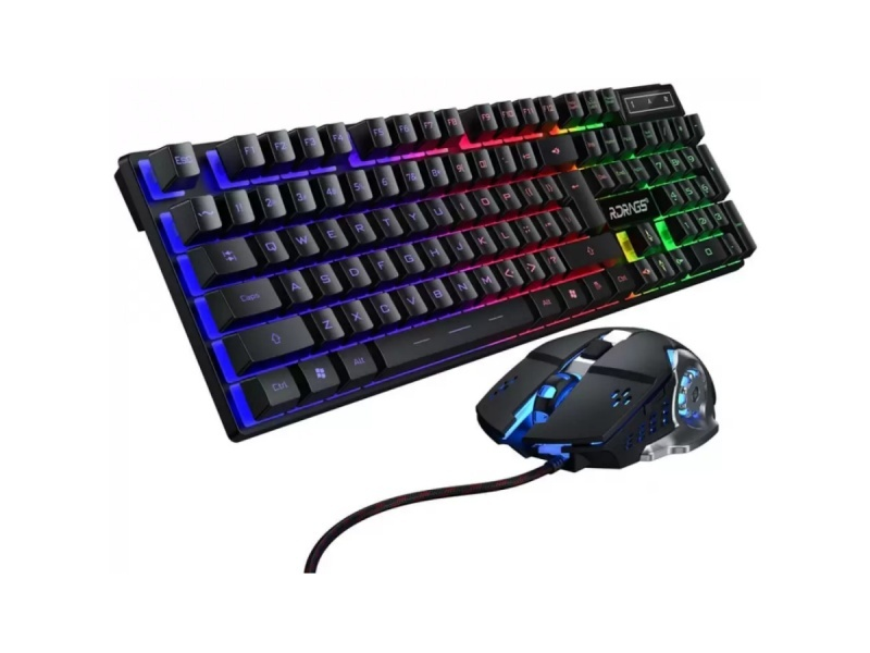 COMBO TECLADO Y MOUSE GAMER LUCES LED RGB CABLEADO USB (INGLES)